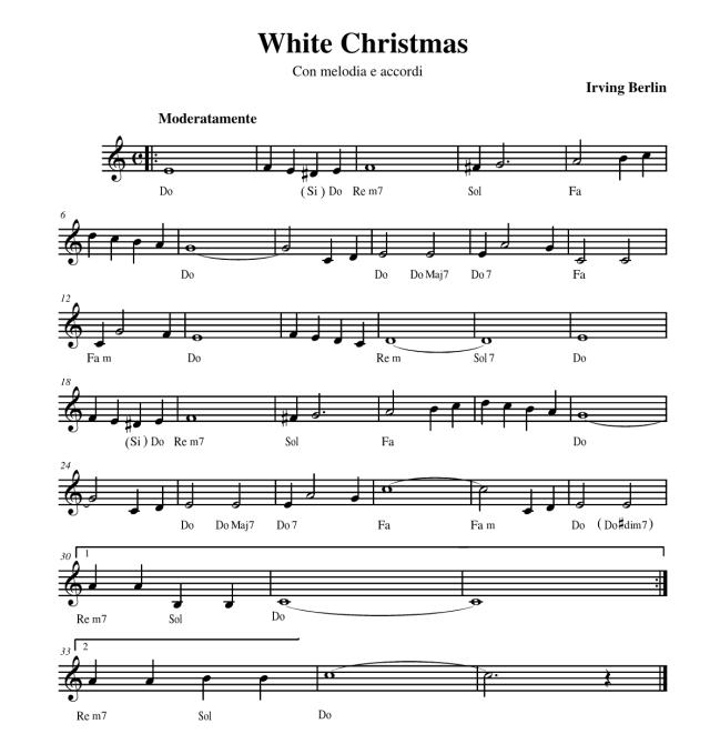 White Christmas melodia e accordi in italiano