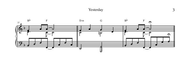"""Lo spartito di """"Yesterday"""" dei Beatles per pianoforte 3"""
