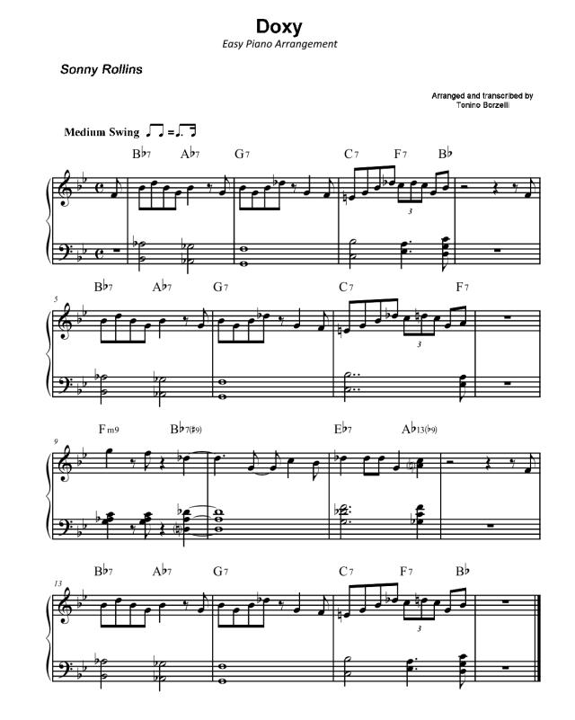 """Lo spartito di """"Doxy"""" di Sonny Rollins per pianoforte semplificato"""