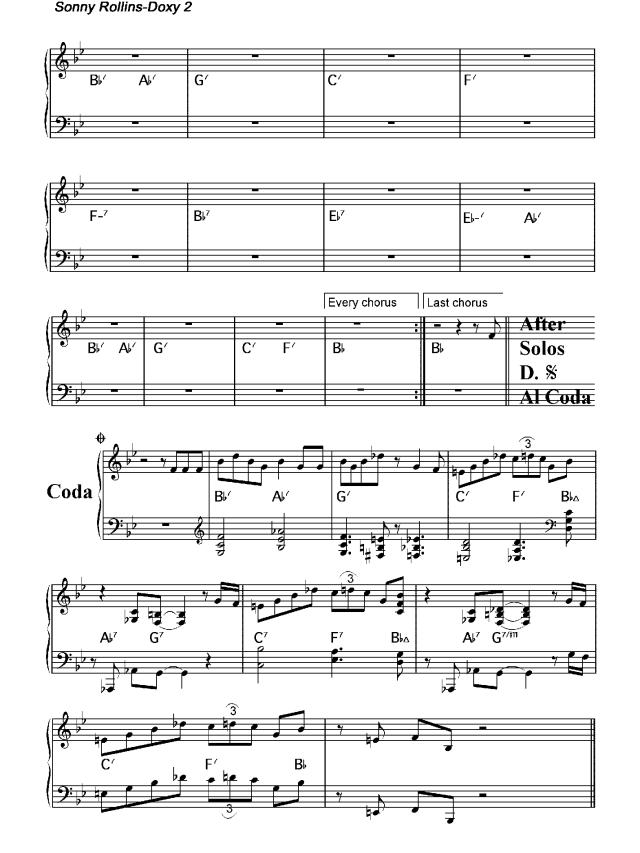 """Lo spartito di """"Doxy"""" di Sonny Rollins per pianoforte 2"""