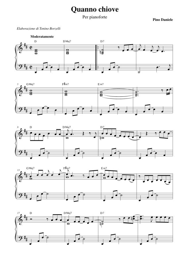 """Lo spartito di """"Quanno chiove"""" per pianoforte"""