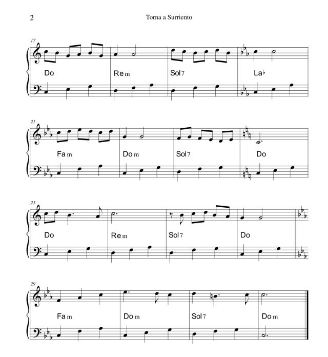 Torna a Surriento - Spartito per pianoforte semplice 2