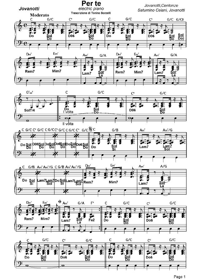 """Lo spartito di """"Per te"""" di Jovanotti: piano elettrico"""