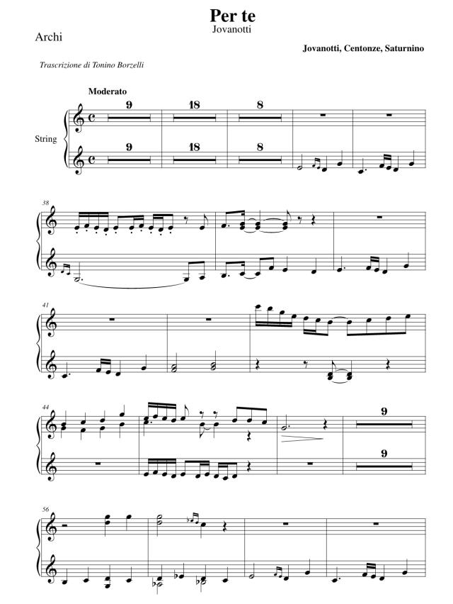 """Lo spartito di """"Per te"""" di Jovanotti: archi"""