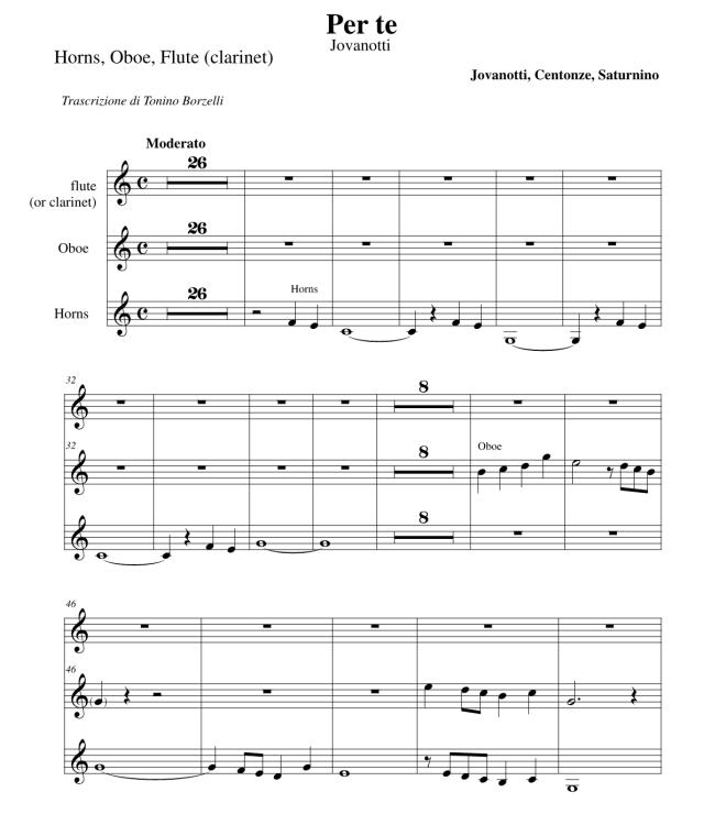 """Lo spartito di """"Per te"""" di Jovanotti: corno, oboe e clarinetto (o flauto)"""