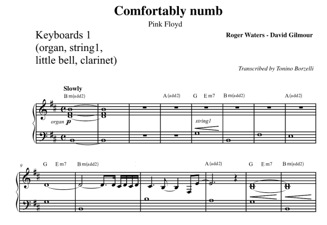"Lo spartito di ""Comfortably numb"" dei Pink Floyd: keyboard"