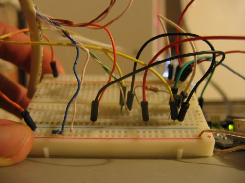 small resolution of the breadboard setup for the hot tub controller