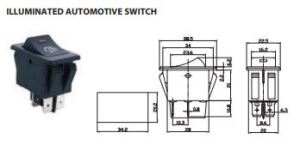 DPST Rocker Switch with Red Illuminated Indicator 12 VDC 35A
