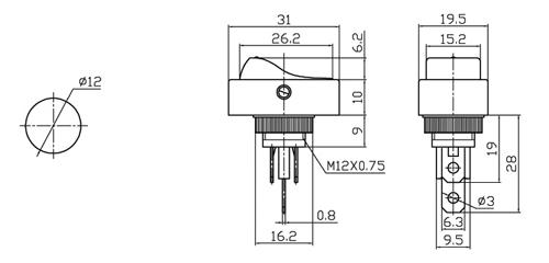 SPST Automotive Rocker Switch w/Red LED 12V