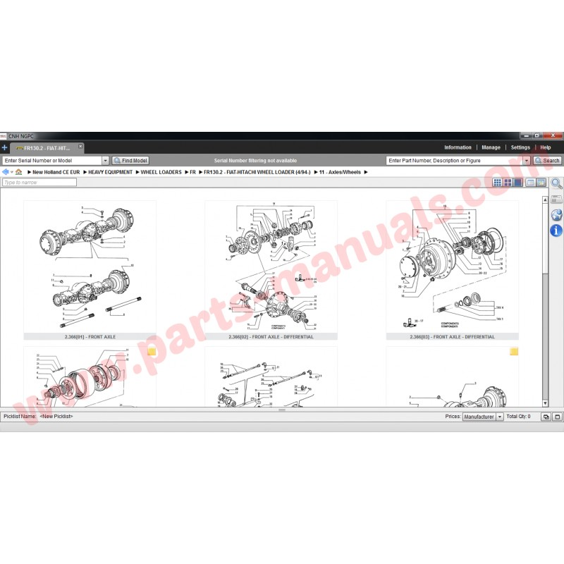 FIAT HITACHI PARTS MANUAL 2015