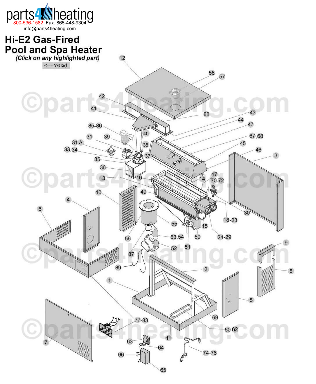 Jandy HiE2 Gas Heater Clickable Parts Diagram