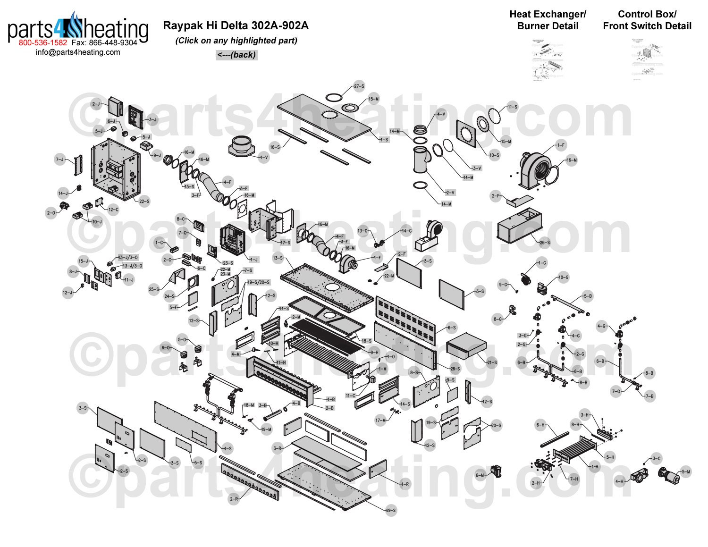 Parts4heatingcom Raypak Hi Delta Wh1 0322 Sketch Coloring Page