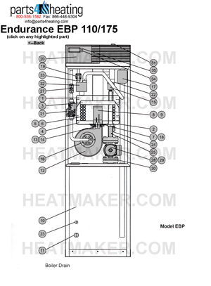 Parts4heating.com: Laars Endurance EBP175 Heater (Old Style)