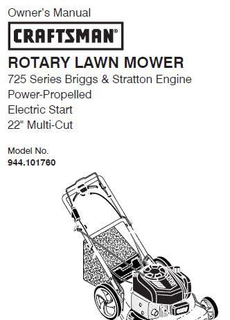 Sears Craftsman Repair Parts Manual Model No. 944.101760