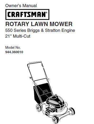 Sears Craftsman Repair Parts Manual Model No. 944.360010