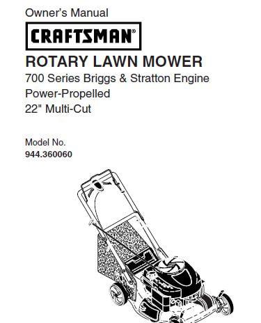 Sears Craftsman Repair Parts Manual Model No. 944.360060