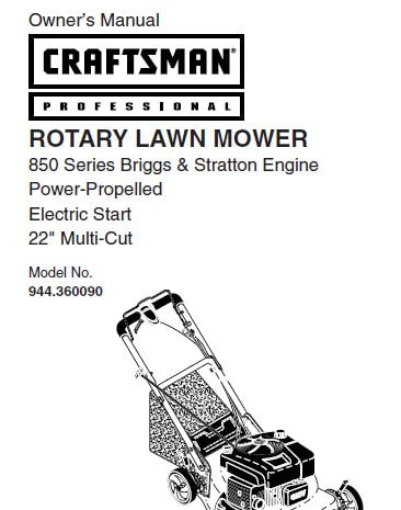 Sears Craftsman Repair Parts Manual Model No. 944.360090
