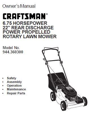 Sears Craftsman Repair Parts Manual Model No. 944.360300