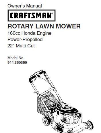 Sears Craftsman Repair Parts Manual Model No. 944.360350