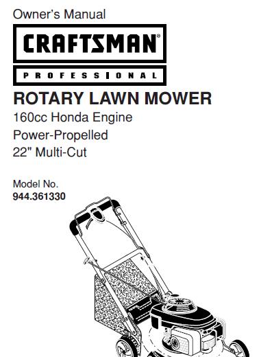 Sears Craftsman Repair Parts Manual Model No. 944.361330
