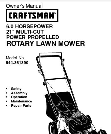 Sears Craftsman Repair Parts Manual Model No. 944.361390