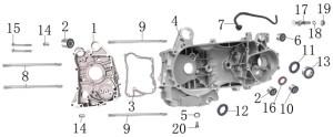 125cc  150cc Right and Left Crankcase
