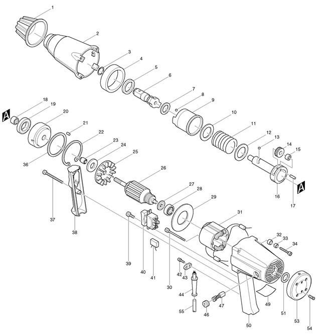 Makita 6906 3/4in Impact Wrench 800 Watt Spare Parts