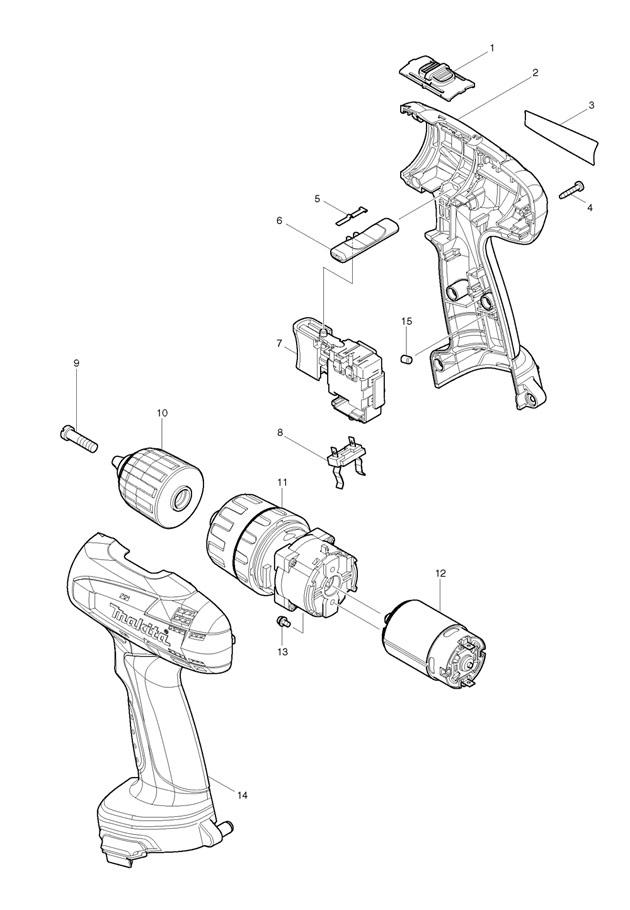 Makita 8271D 10mm (3/8″) 12v Cordless Hammer Spare Parts