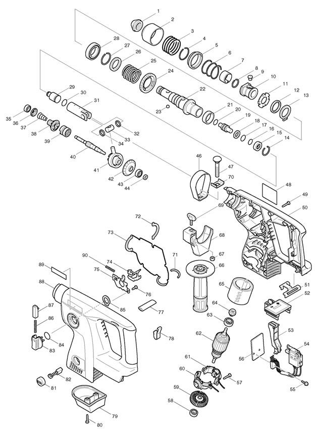 Makita BHR200 24v Cordless Sds+ Rotary Hammer Spare Parts