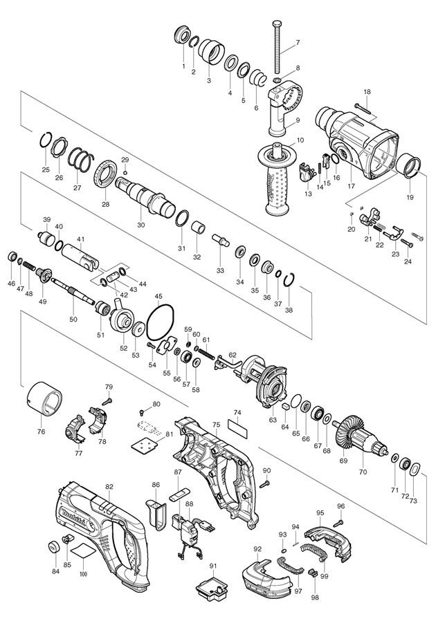 Makita BHR241 18v Li-ion Cordless Rotary Hammer Spare