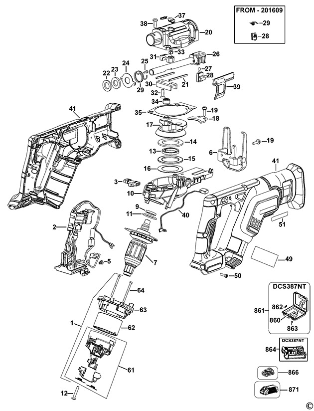 DeWalt DCS387 Cordless Reciprocating Saw Spare Parts