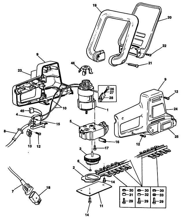 Black & Decker GT200 Type 1 Hedgetrimmer Spare Parts