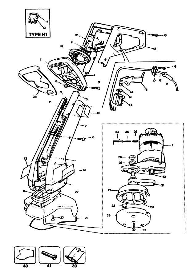 Black & Decker GL630 Type H1A String Trimmer Spare Parts