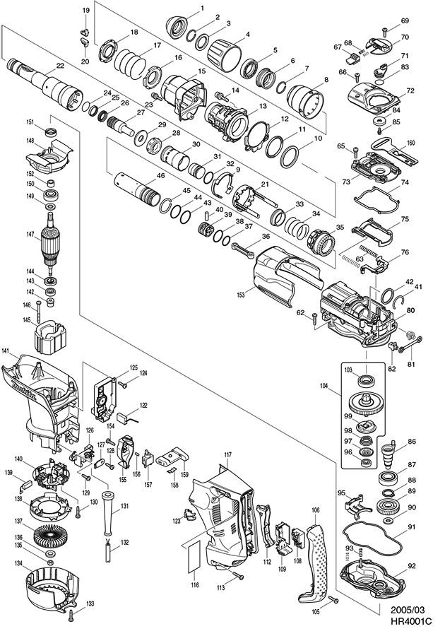 Makita HR4001C 40mm Sds Max Rotary Hammer Spare Parts