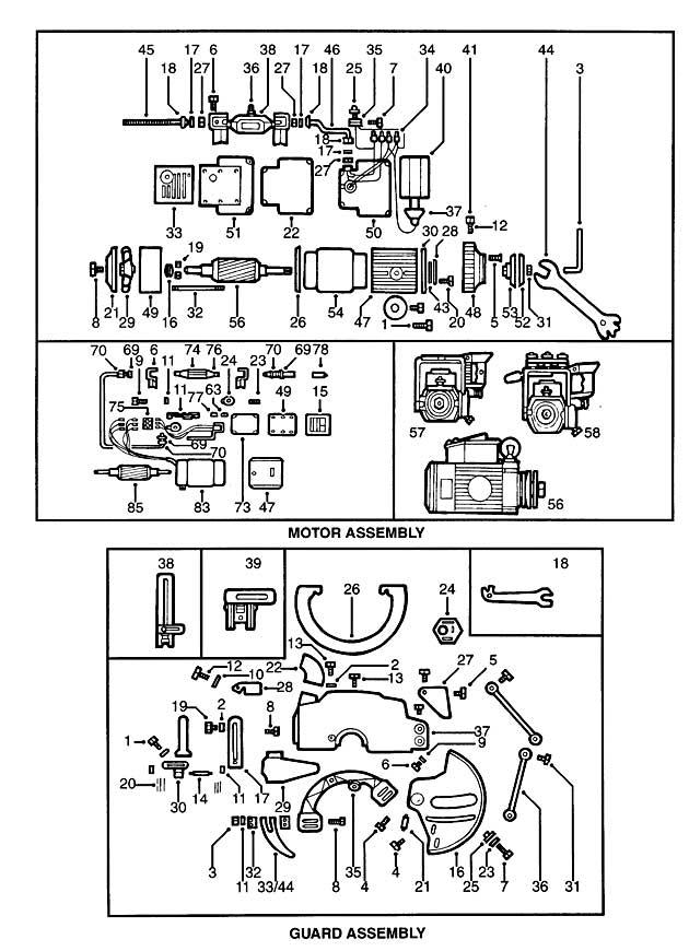 DeWalt DW125-----C Type 1 Radial Arm Saw Spare Parts