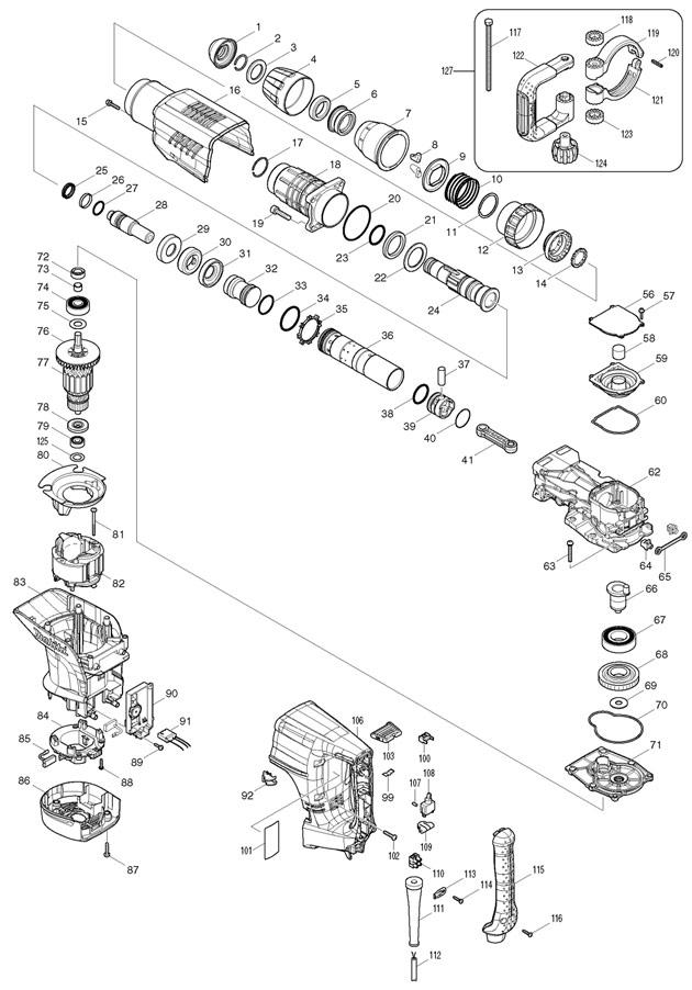 Makita HM1203C Sds-max Demolition Hammer Drill Spare Parts