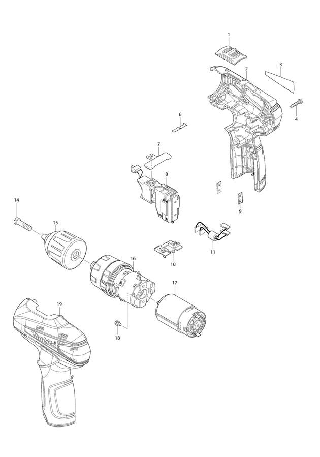 Makita HP330D 10.8v Cordless Combi Drill Spare Parts