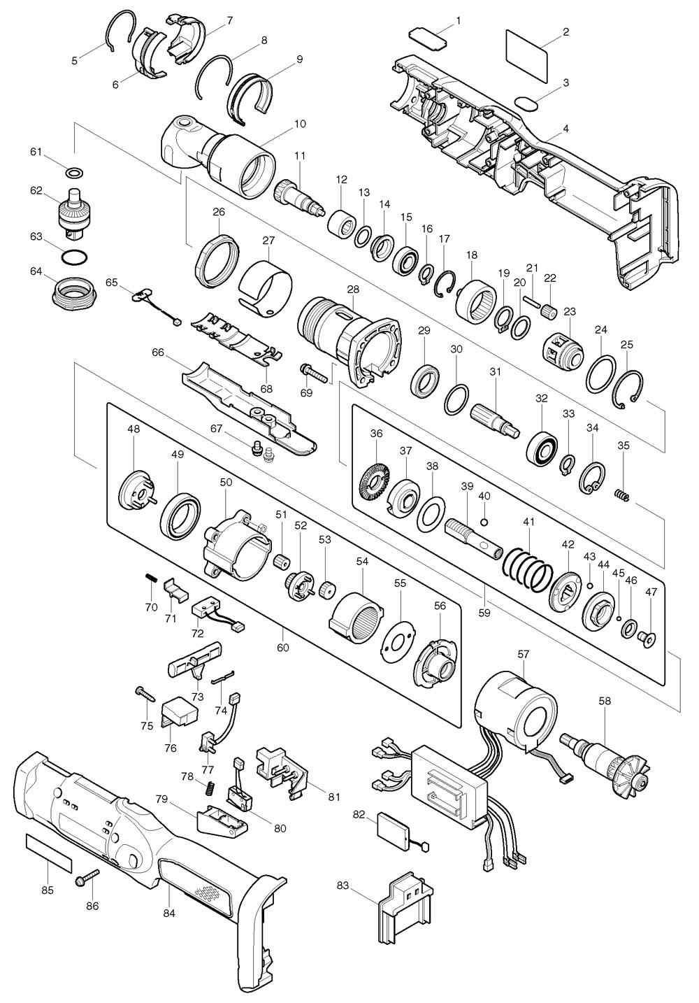 Makita BFL400F 14.4v Cordless Angle Drill 3/8 Spare Parts