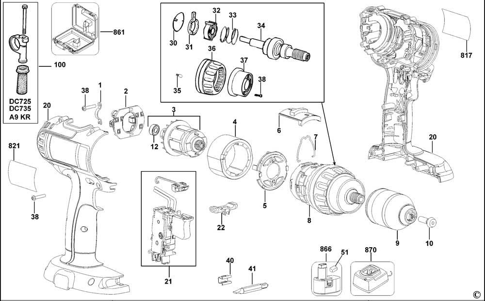 DeWalt DC727K Type 11 Cordless Drill 18v Li-ion Spare