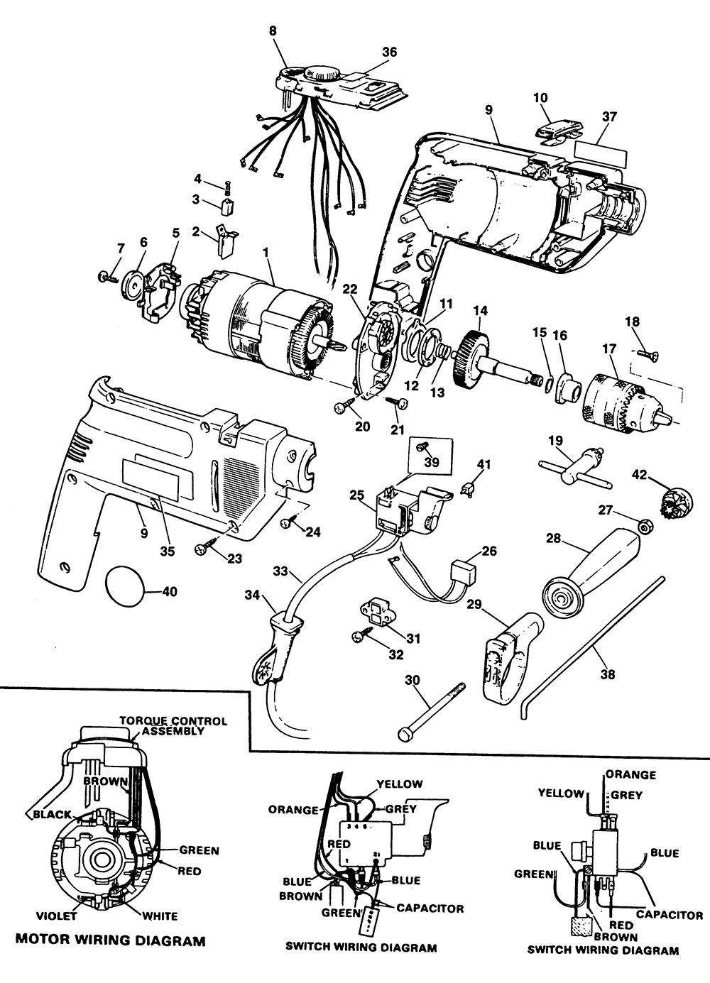 Black & Decker BD155RT Type 1 Hammer Drill Spare Parts