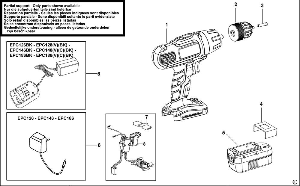 Black & Decker EPC188 Type H1 Cordless Drill Spare Parts
