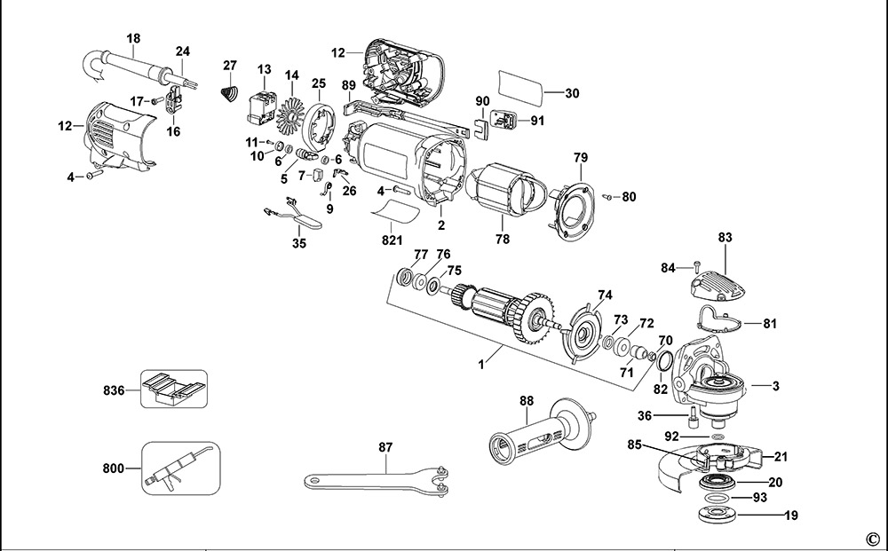 DeWalt D28130 Type 3 Small Angle Grinder Spare Parts