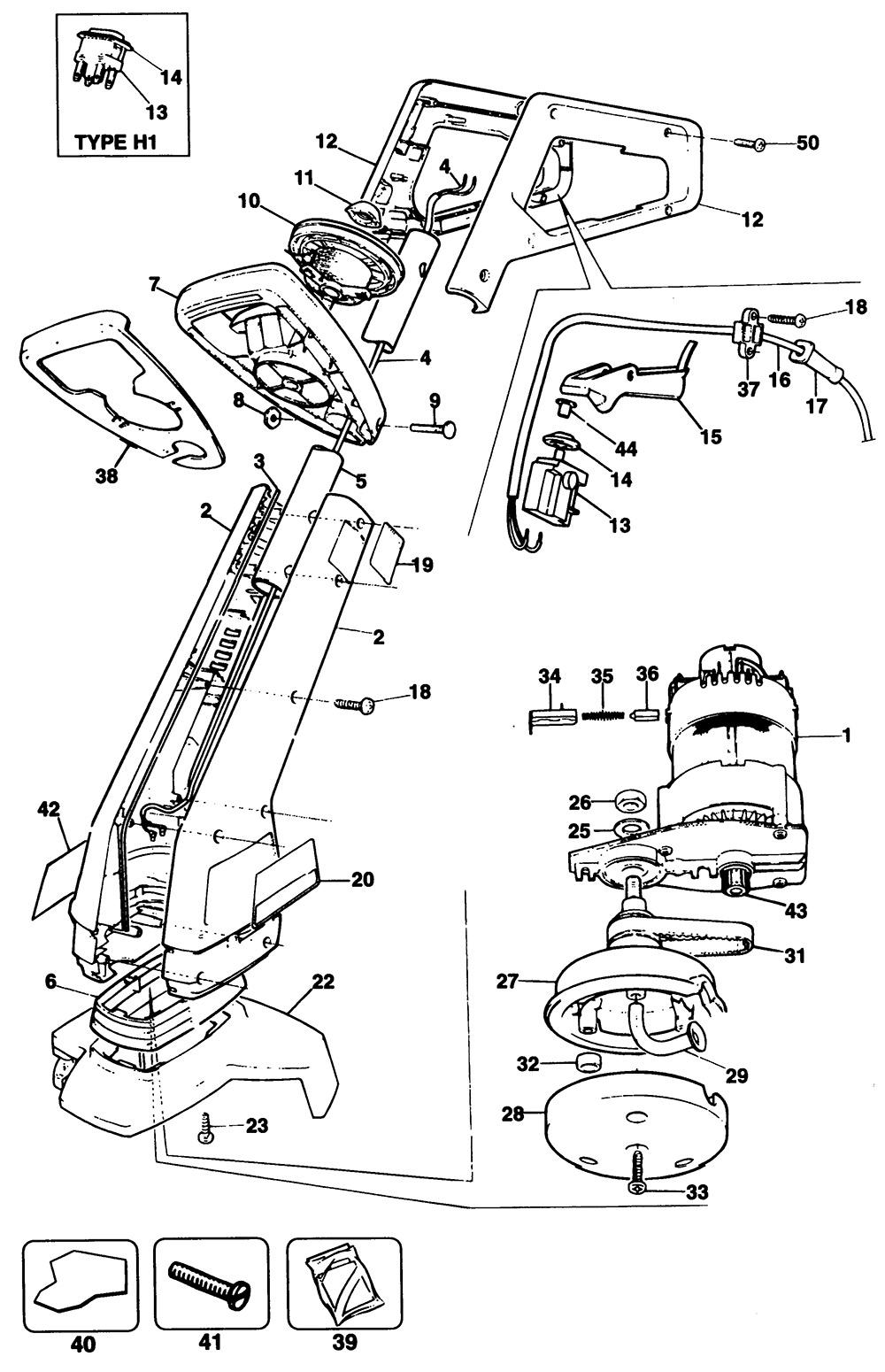 Black & Decker GL620 Type 1 String Trimmer Spare Parts