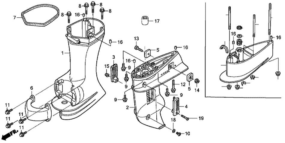 Картер и удлиняющий кожух мотора Honda BF15D3SHU.