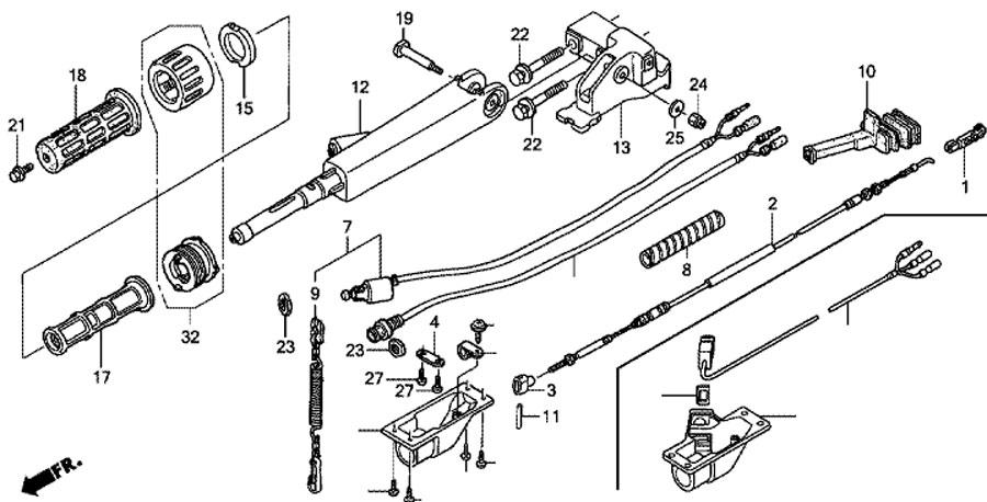 Ручка рулевого управления лодочным мотором Honda BF15D3-SHU.