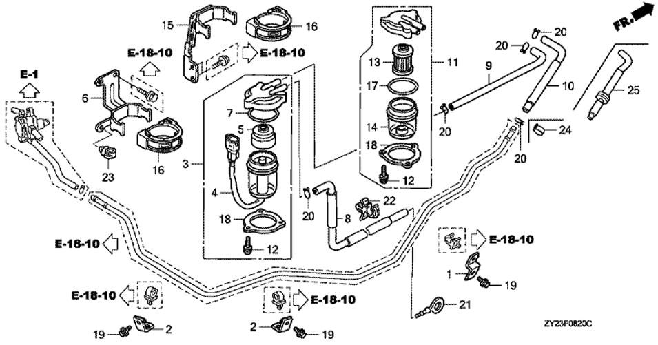 Разделитель воды и топливный сетчатый фильтр Honda BF225