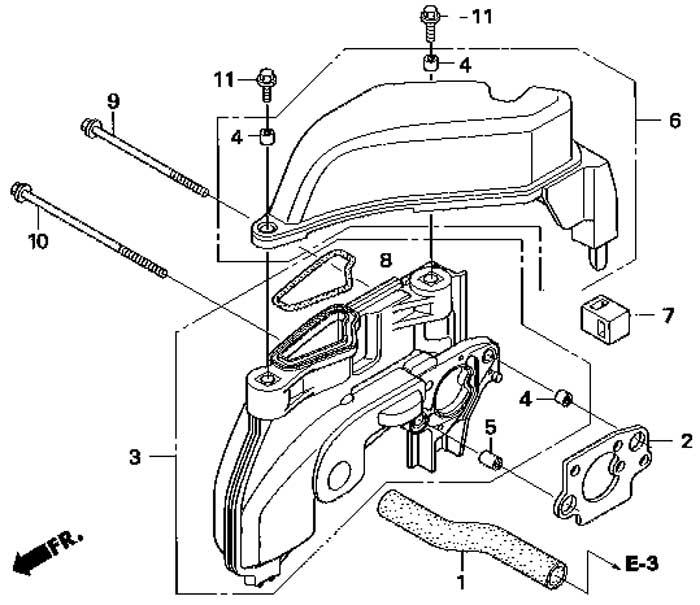 Воздуховод двигателя Honda BF 2,3 D6 SС HU.