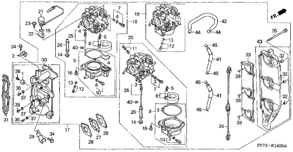 Карбюратор в сборе Honda BF 30 A4 SRTU (Carburetor).