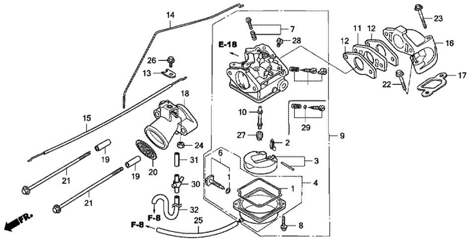 Карбюратор для лодочного мотора Honda BF 5 A4 SU (Carburetor).