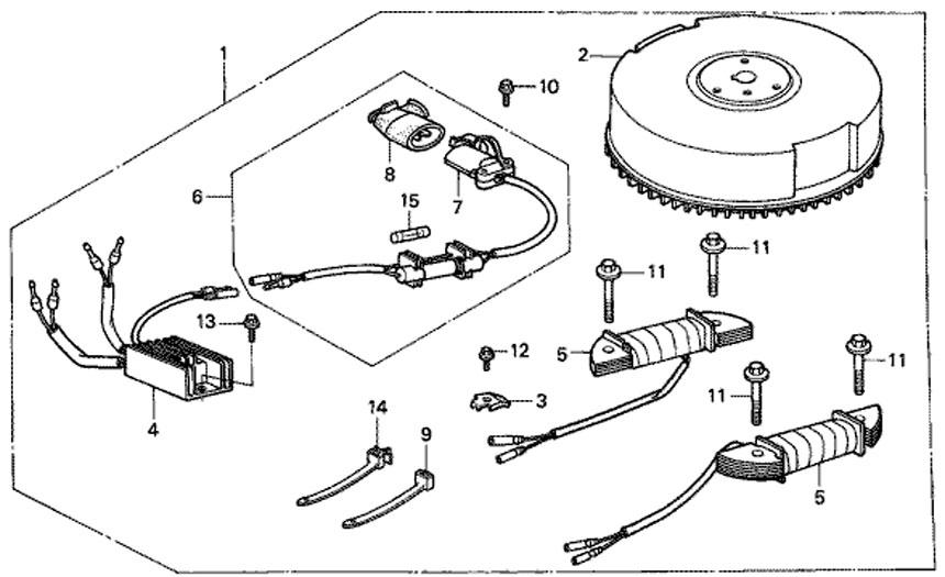 Комплект зарядной розетки, лодочный мотор Honda BF5 A4 SU